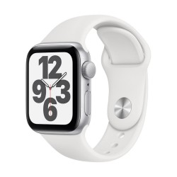 Apple Watch SE GPS, 40mm Silver Aluminium Case with White Sport Band