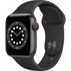 Apple Watch Series 6 GPS + Cellular, 40mm Space Gray Aluminium Case with Black Sport Band
