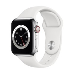 Apple Watch Series 6 GPS + Cellular, 40mm Silver Aluminium Case with White Sport Band