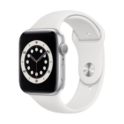 Apple Watch Series 6 GPS, 44mm Silver Aluminium Case with White Sport Band
