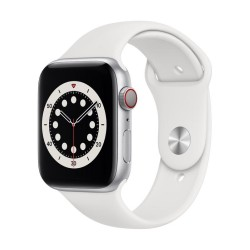 Apple Watch Series 6 GPS + Cellular, 44mm Silver Aluminium Case with White Sport Band