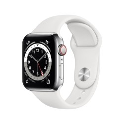 Apple Watch Series 6 GPS + Cellular, 44mm Silver Stainless Steel Case with White Sport Band