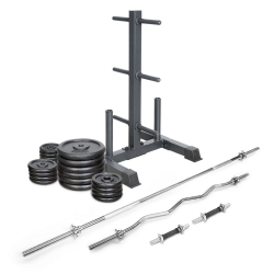 Lifespan Fitness 120kg Cast Iron Weight Set with Stand