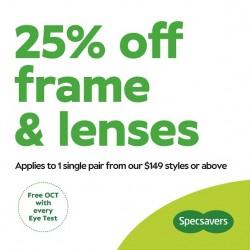 25% off Frames & Lenses Lenses through Specsavers Premium Club
